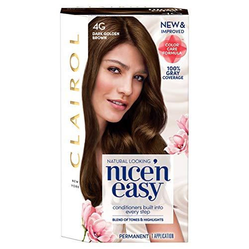 Clairol Nice'n Easy Permanent Hair Color, 4G Dark Golden Brown, Pack of 1