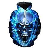 Rawdah Sudaderas 3D Hombre Lover'S Hoodies Cool Unisex 3D Impreso Skull Pullover...