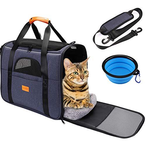 Katzen Transportbox, Tragbare Atmungsaktive Reisetasche für Katze und Kleine Hunde von 15 Pfund, Transporttasche Fluggesellschaft Zugelassene & Hundebox mit Sicherheits-Innenleine, Faltbare Hundenapf