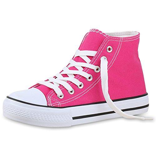 SCARPE VITA Damen Sneakers Trendfarben Sportschuhe High Top Schnürer Pink 39