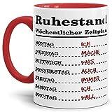 Tassendruck Geschenk-Tasse zum Ruhestand mit Wochenplan/Rente/Rentner/Pension/Abschieds-Geschenk/Innen & Henkel Rot