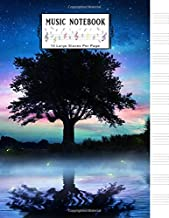 Music Notebook: Blank Sheet Music Notebook: Starry Night with Lonely Tree Music Journal│Musicians Notebook│Manuscript Paper│Large Size 8.5x11