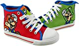 Super Mario Brothers Mario and Luigi Kids Shoe, Nintendo Hi Top Sneaker with Laces, Little Kid Size 12 Red