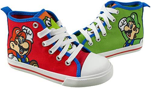 SUPER MARIO Brothers Mario Luigi Kids Shoe  Nintendo Hi Top Sneaker Laces Toddlers Kids  Size 7 to 12 (3 M US Big Kid  Red)