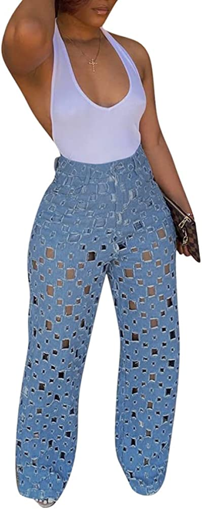 THLAI Women's Hollow Out Pants Button Zip Closure Full Length Straight Wide Leg Pants Comfy Loose Casual Pants