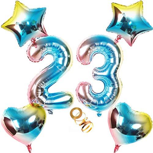 Globos con número 23, número 23, arco iris 23, 23, 80 cm, XL para niñas, niños, hinchables, corazón, helio, estrella, globo, cumpleaños, decoración