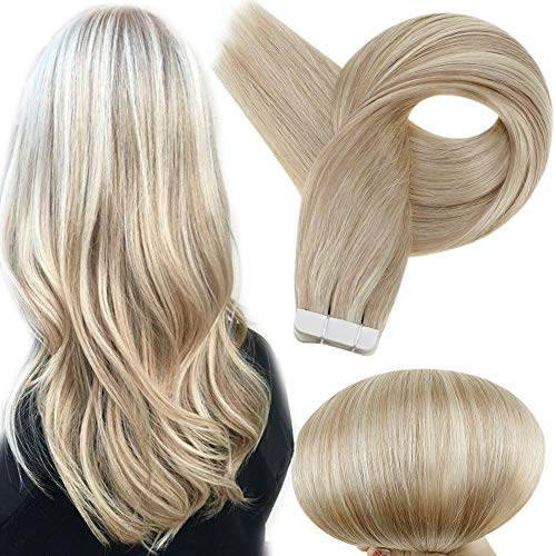 Full Shine Seamless Human Hair Invisible Tape in Human Hair Extensions Mixed Color Ash Blonde with Blonde 50g Per Package Double Side Skin Weft 20 Inch