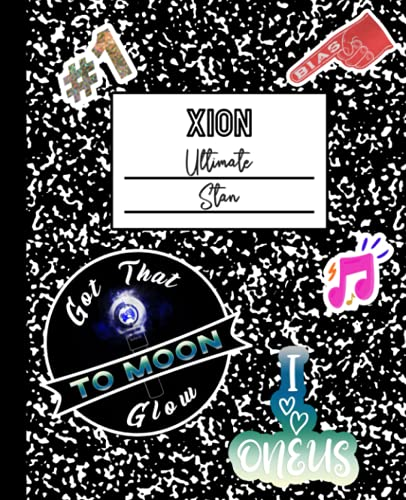 Xion Ultimate Stan: ONEUS Mock Sticker Filled Kpop Bias Merch Notebook 7.5 x 9.25' College Ruled Composition School Style Paperback Journal Book for TO MOON Fan
