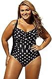 Ropa Traje De Baño Completos Una Pieza Talla Grande Acolchado Frunces Lunares Swimwear Swimsuit Bañador Monokini Trikini Negro 4XL