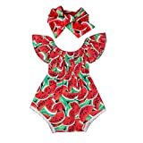 Infant Newborn Baby Girl Watermelon Romper Jumpsuit Bodysuit + Headband Outfit (6-12Months, Red)