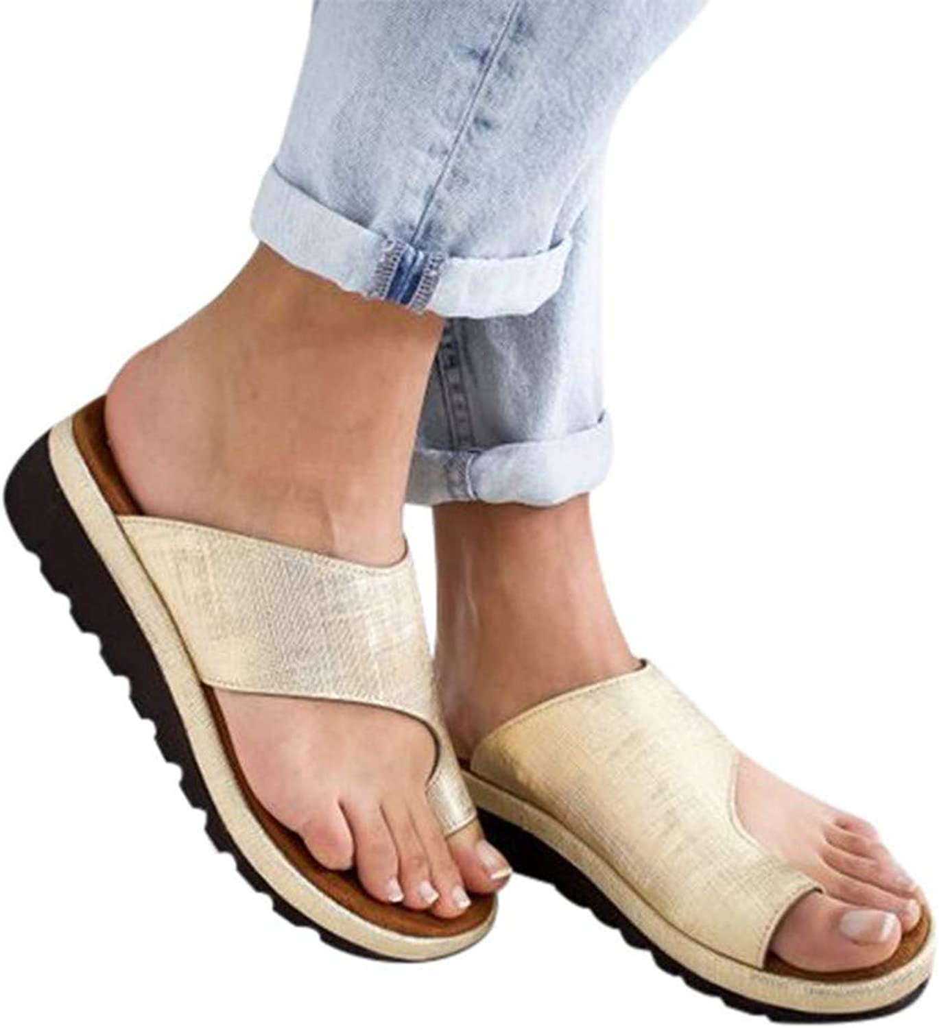 Women Orthotic Sandals with Great Arch Support and Plantar Fasciitis Relief PU Leather Soft Orthotic Sandals Beach Flip Flops Outdoor Toe Post Sandal,gold,42