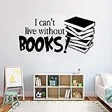 ¡No puedo vivir sin un libro!. calcomanías de pared para libros pegatinas de pared extraíbles para leer palabras decoración para niños habitación para niños 42 * 20 cm