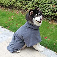 RUIMA 小中大犬マイクロファイバー超吸水ペットの猫タオル犬バスローブ速乾性ペット入浴暖かい服バスタオル ブラシ (Color : Gray, Size : XL)