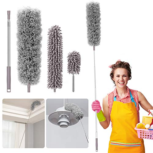 Microfiber Duster for Home, Homga Microfiber Duster Cleaning Kit with Telescoping Extension Pole 100 Inch, Reusable Bendable Dusters, Washable Lightweight Dusters for Cleaning Cobwebs Ceilings Fans