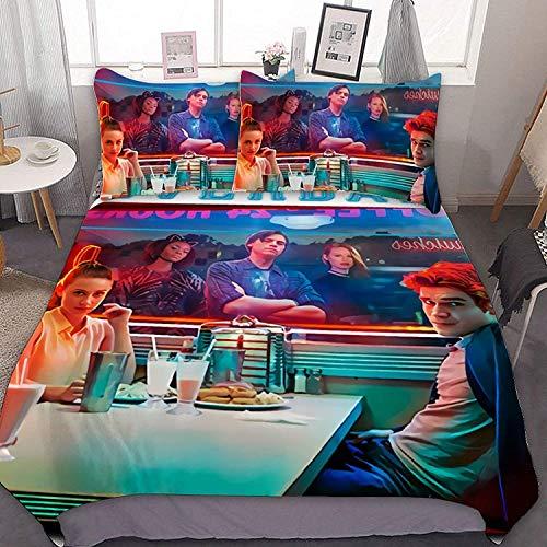 POMJK Riverdale Bedding Set, Riverdale Duvet Cover, 100% Microfibre, Super Soft Comfortable Duvet Cover (Riverdale1, 200 x 200 cm + 50 x 75 cm x 2)