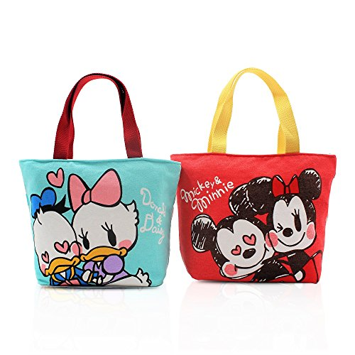 Finex Set of 2 Mickey Minnie Mouse Donald Daisy Duck Canvas Zippered Tote with Top Carry Handles Love Sweet Coupl Hand Bag - Gym Makeup Diaper Reusable Grocery Lunch