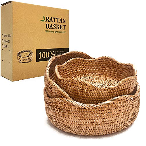 LDG Bread Serving Basket Wicker Fruit Basket Rattan Baskets Decorative Bowl ( Floral Edge Handmade Rattan Bowl, LMS)