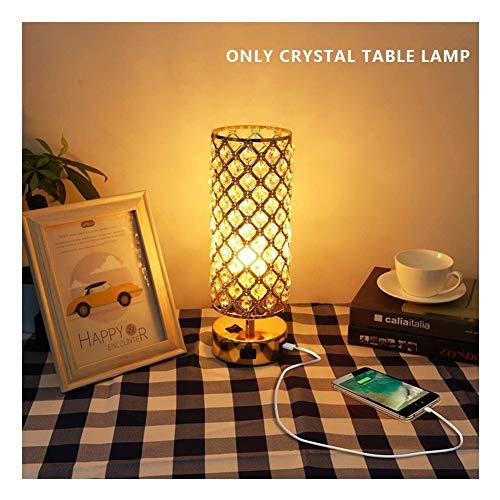 SHENMU Kristall-Tischlampe, Gold Nachttischlampe mit Dual USB-Lade Ports, Kristallschirm, Lampe for Schlafzimmer (Leuchtmittel Nicht im Lieferumfang enthalten)