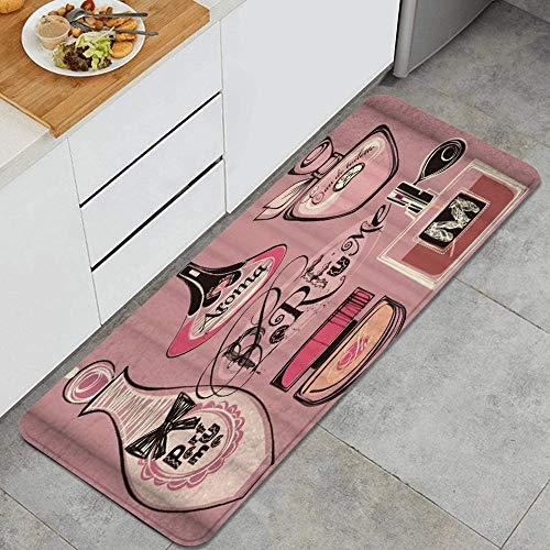 HASENCIV Alfombrillas de Cocina Antideslizantes Moda Mujer Maquillaje Perfume Lujo Varios Felpudos Cocina Dormitorio Baño Antifatiga Alfombrilla de Poliéster