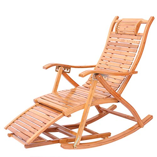 Chaise berçante réglable en bambou Chaise longue réglable Fauteuils inclinables en plein air Patio Chaises pliantes inclinables (Couleur : A)