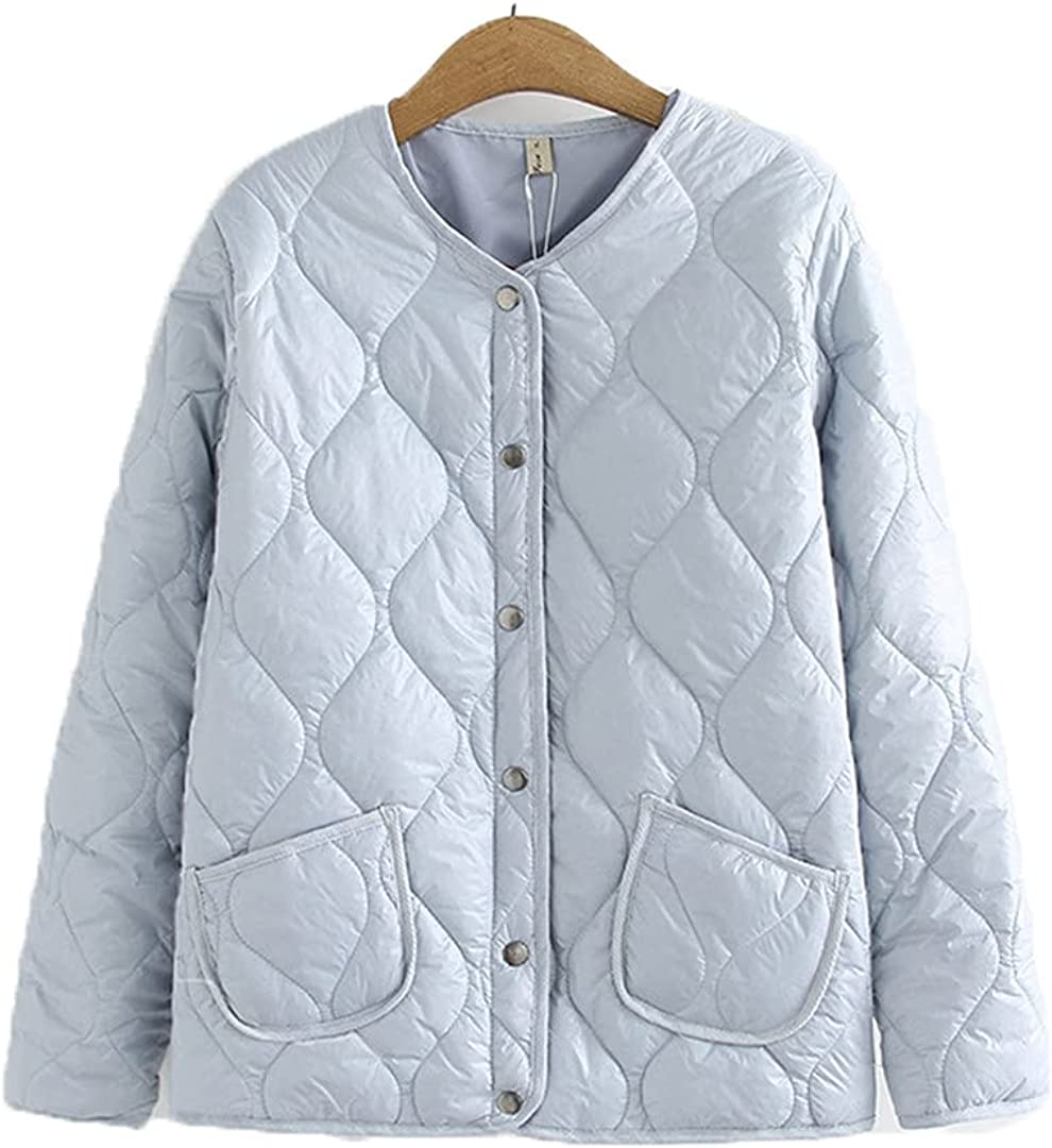 KCLDFJ Women Parka Autumn Winter Single Breasted Quilted Coat Long Sleeve Thin Cotton-Padded Short Jacket