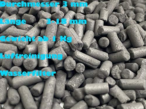 Aktivkohle pellets Geruchsfilter 3mm 1 kg, 2 kg, 4 kg, 5 kg, 10 kg, 25 kg, 50 kg