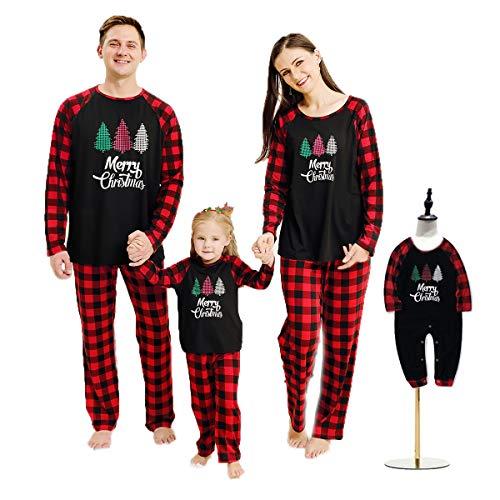 Haokaini Christmas Pajamas Family Matching Sleepwear Xmas Nightgown for All of Families Black