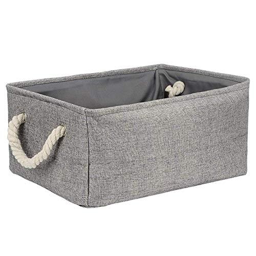 RRTY Cesta de almacenamiento de tela de lino plegable grande para niños, juguetes de almacenamiento de ropa, bolsa de almacenamiento con asa (4,31 x 21 x 13 cm)