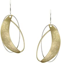 product image for Marjorie Baer Crescent with Layered Rings Earring in Brass and Silver