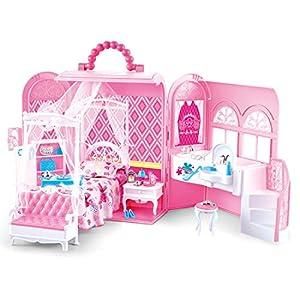 deAO Bolso de Mano con Casita de Muñecas Incorporada Conjunto 2en1 Portátil Habitación de Princesa Incluye Muebles a Medida (muñeca NO incluida)