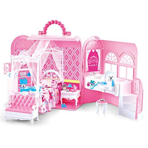deAO Borsa a Mano con Casa delle Bambole Incorporata Set 2in1 Design Prtatile Stanza della Principessa Include Mobili e Accessori su Misure (Bambola Non Inclusa)