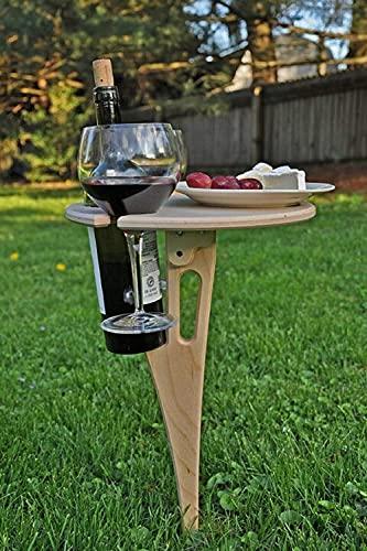 Tragbarer Garten-Wein Tisch im Freien - Klappbarer Picknicktisch, Weinglasregal aus Holz, zusammenklappbarer Flaschenhalter für den Außenbereich, Garten, Reisen