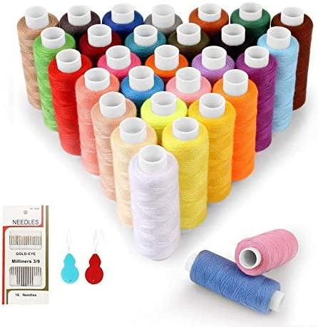 SOLEDI Sewing Thread 60 Colour Each Spool 228m Sewing Kit with 16 Sewing Needles and 2 Needle Threader 48 Pcs Suitable for Sewing by Hand and Sewing by Machine