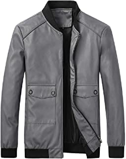 CRYYU Mens Slim Fit Zip Front Vintage Faux Leather Moto Biker Bomber Jacket