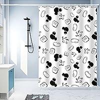 シャワーカーテン、ポリエステル生地装飾バスカーテン、シャワーかーてん、防水ウォッシャブルバスルームカーテン、フック付きバスカーテン、80 * 180cm