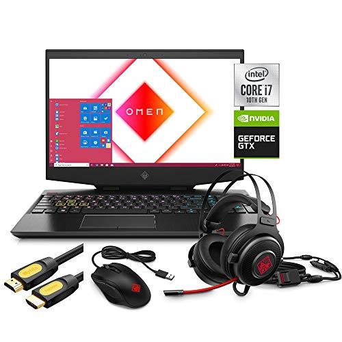 "HP OMEN 15 Gaming Laptop, 15.6"" IPS FHD, Intel 6-Core i7-10750H up to 5.0 GHz, NVIDIA GTX 1660 Ti, 16GB RAM, 1TB SSD, RGB KB, Thunderbolt 3, WiFi 6, Mytrix Accessories ,Win 10"