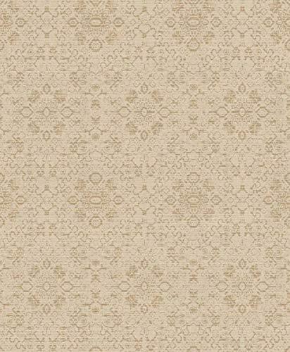 Casa Padrino Barock Tapete Beige/Gold 10,05 x 0,53 m - Textiltapete im Barockstil