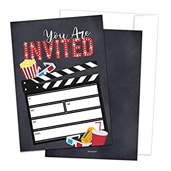 Movie Party Invitations with Envelopes by Hat Acrobat | Perfect for Movie Theme Party Hollywood Party Red Carpet Party Movie Night Sweet 16 Movie Birthday Party Supplies Ideas 25 Pack