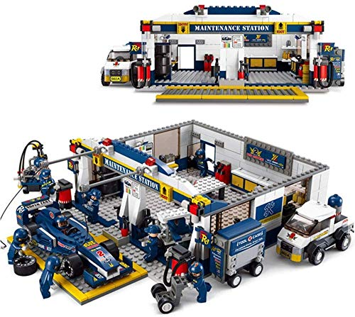 Best Price Model Building Blocks DIY F1 Racing - Combat Lane Maintenance Station Brick Blocks Educat...