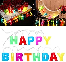 Multicolor Letter Happy Birthday LED String Lights, Novelty Place Light Up Letter Birthday Party Hanging Decorations