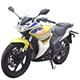 2020 Version 200cc Adult Gas Motorcycle Street Moped Scooter Lifan KPR 200 Fuel Injection Fully Assembled(Yellow/White)