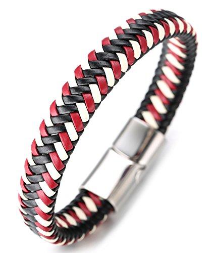 Halukakah ● Jazz ● Herren-Armband Handgefertigt | Echtleder in Sport Rot & Weiß | Magnetverschluss aus Edelstahl in Silber | KOSTENLOS Geschenkbox | Tolle Geschenkidee | 21.5cm