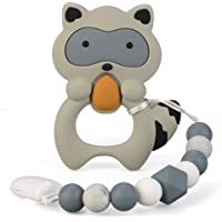 Baby Teething Toys BPA Free Silicone Teether Chew Egg with Pacifier Clip Cute and Effective Pain Relief Raccoo for Stylish Boy or Girl