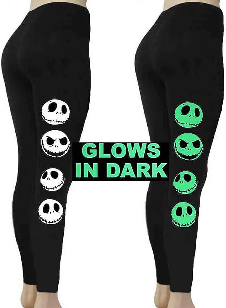Jack Skellington Glow in Dark Black Knit Ankle Leggings More Sizes Nightmare Before Christmas Classic Movie
