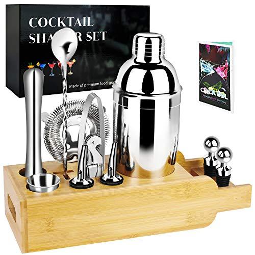 Juego de coctelera de 12 piezas con soporte de bambú, set de coctelera de acero inoxidable para una maravillosa experiencia de mezcla, regalo para hacer bebidas