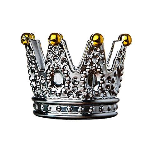 doepeBAE Posacenere con Corona in Vetro, portacandele per Decorazioni per la casa, portacenere per Fumatori da Tavolo Creativo, Decorazione per Ufficio a casa in Stile coron (sliverbeads)