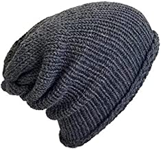 Men's Lightweight Handmade Slate Grey Alpaca Slouchy Beanie Hat