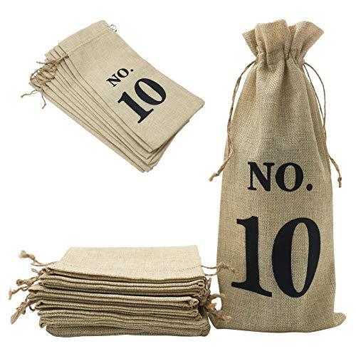 Shintop 10 bolsas de vino de yute, 14 x 6 1/4 pulgadas, bolsas de regalo para botellas de vino de arpillera con cordón para cata de vino ciegos (numeradas, marrón)