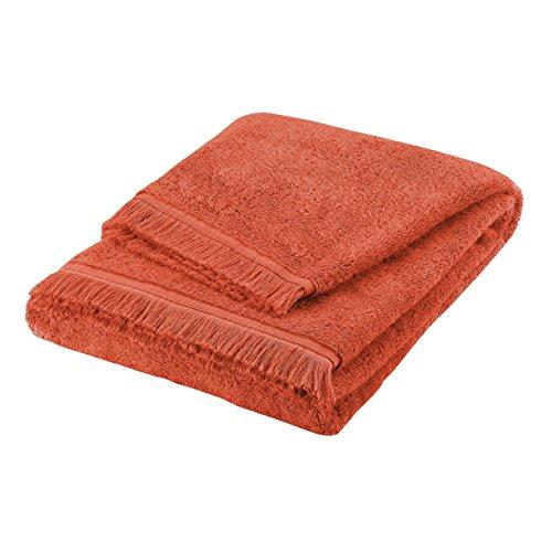 BLANC CERISE Serviette invité - 100% Coton peigné Longues Fibres 550 g/m² - uni Paprika 30x40 cm