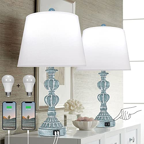 Touch Control Table Lamp Set of 2, 3-Way Dimmable Bedside Nightstand Lamp with 2 USB Charging Ports, Coastal Farmhouse Desk Lamp with Tapered Drum Shade for Living Room, Bedroom - Blue Washed White